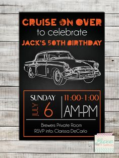 Vintage Car Custom Birthday Party Printable Invitation, Orange Black Birthday Invite Customized, Boy Man Child Adult Party Supplies by LuxePartySupply on Etsy