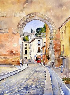 Watercolor Print featuring the painting Puerta Elvira by Margaret Merry