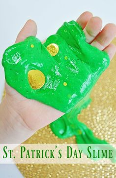 Kiddos will feel lucky when they get to make this easy St. Patrick's Day Slime! Check out the easy to follow tutorial!