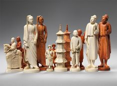 Javanese Ivory Chess Set, 19th c. Java, Indonesia Ivory King: 5 3/4 in.