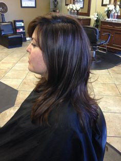 2 of 3, raised the length,2 inches blunt cut, long layers, fringe cut in a v section to give option to part side to side or part in the middle, blow dry and style finish the cut by cutting into the top layers by removing bulk, to give hair lift and shape.