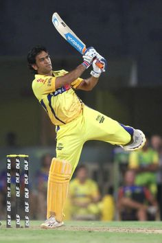 ONE HIT WONDER: Chennai Super Kings captain Mahendra Singh Dhoni plays one of his signature shots right out of the MCC Coaching Manual. Not!