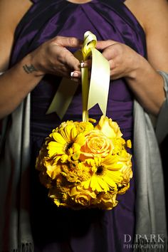 Kissing Ball Bouquet - Grand Californian and California Adventure Wedding: Courtney + Calvin   Magical Day Weddings   A Wedding Atlas Fan Site for Disney Weddings