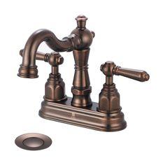 Pioneer Industries Americana Oil-Rubbed Bronze 2-Handle 4-in Centerset WaterSense Bathroom Faucet (Drain Included)