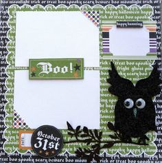 #papercraft #Halloween #scrapbook #layout Check out PaperCraftersC for lots of scary-good Halloween papercraft ideas and #Scrapbook