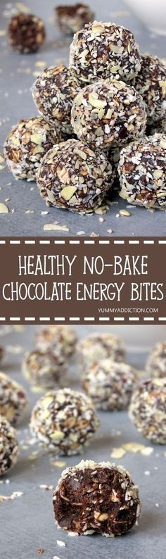 Healthy No-Bake Peanut Butter Chocolate Energy Bites | Need a quick snack to give you energy in the afternoon? These energy bites are made with clean eating ingredients and make a great grab-and-go snack. Plus, they are sweet enough to sub as a healthy dessert! Pin now to make later.