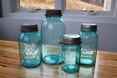 turquiose & teal kitchen accents | kitchen decor - ball jars and vintage globes | BlogHer
