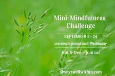 Welcome to Week 3 of the Mini-Mindfulness Challenge.  I'm so glad you're here! The Mini-Mindfulness Challenge offers a simple prompt each week – for 4 weeks – to help you remember to be present in the moment and in so doing find better health and more ease.  http://alwayswellwithin.com