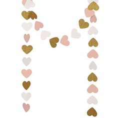 Ling's moment 9 Feet Paper Heart Garland (Gold GlitterPinkWhite) Hearts Hanging Decorations for Wedding Baby Shower Christmas Items & Party Props