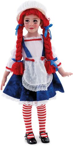 Yarn Babies Rag Doll Girl Toddler / Child CostumeIncludes: dress with attached apron and cap with attached yarn hair (braids). Does not include stockings or shoes. This is an official Yarn Babies cost