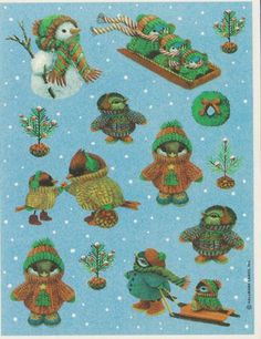 Vintage Christmas Critters sticker sheet by Hallmark
