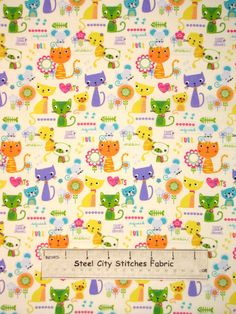 Kitty Kat Cat Meow Mouse Mice Kittens Multicolor Cats Toss Cotton Fabric YARD in Crafts | eBay