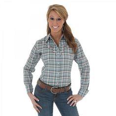 Womens Wrangler Turquoise/Brown Long Sleeve Metallic Plaid Shirt