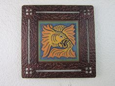 arts & crafts koi fish tile plaque in wrought by Bushereironstudio, $175.00