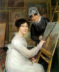 Self-portrait by Rolinda Sharples, with her mother, Ellen, in the background