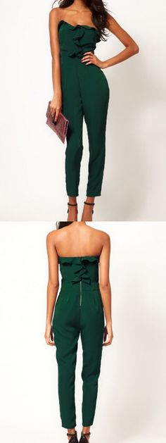 Green Strapless Jumpsuits With Drape Bust