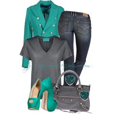 """""""Teal & Gray"""" by mhuffman1282 on Polyvore"""