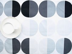 Tablecloth white black grey silver circles  table by Dreamzzzzz, $15.00