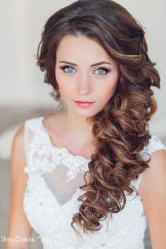 long half up wavy wedding hairstyle
