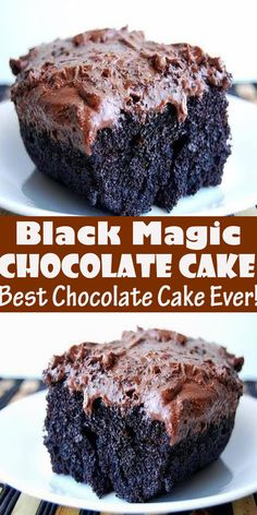 Black Magic Cake (Best Chocolate Cake Ever!) Black Magic Cake (Best Chocolate Cake Ever! This is one of the best chocolate cak. Easy Baking Recipes, Healthy Dessert Recipes, Sweets Recipes, Delicious Desserts, Magic Chocolate Cake, Chocolate Recipes, Chocolate Wine, Decadent Chocolate, Chocolate Ganache