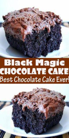 Black Magic Cake (Best Chocolate Cake Ever!) Black Magic Cake (Best Chocolate Cake Ever! This is one of the best chocolate cak. Magic Cake Recipes, Best Dessert Recipes, Sweets Recipes, Magic Chocolate Cake, Chocolate Recipes, Chocolate Wine, Decadent Chocolate, Chocolate Ganache, Chocolate Cake Recipe 9x13