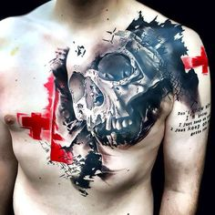 Cool trash polka tattoo of the skull on the chest. Biceps, Cage Thoracique, Cool Chest Tattoos, Trash Polka Tattoo, Totenkopf Tattoos, Symbols Of Strength, Three Little Pigs, Skull Fashion, Most Popular Tattoos
