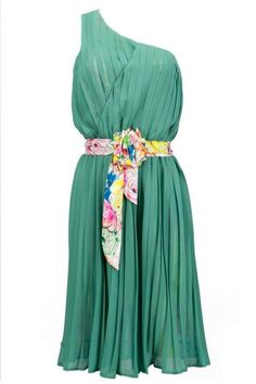 monosleeve dress in georgette, pleated and belt with flowers on waist