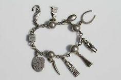 Vintage Mexican 925 Sterling Silver Charm Bracelet   eBay