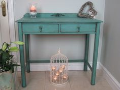 Hall / Side table in Annie Sloan Provence Blue. Finished off with some of my Shabby Chic Furniture Appliques & Mouldings www.chicmouldings.com