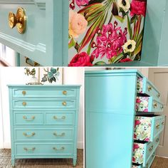 Totally cute in turquoise! Available now in my Etsy store! $497 plus shipping. How fun are the drawers?! Link in profile!…