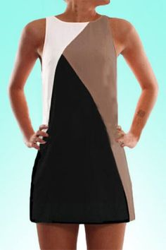Fashionable Round Collar Sleeveless Color Block Bodycon Dress For Women