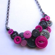 Necklace in Bright Pink and Gray Upcycled by buttonsoupjewelry, $30.00