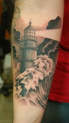 lighthouse tattoo: Love the idea of the storm against the lighthouse, but the light keeps shining.