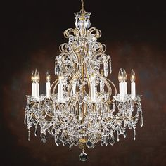 7787 Butera Chandelier - Decorative Crafts Louis XVI style ten-light crystal chandelier with beaded arms on a burnished hand-wrought iron frame; Handmade in Italy. Decor Crafts, Fancy Bedroom, Classic Chandeliers, Fancy Lights, Exterior Decor, Classic Lighting, Crystal Chandelier, Beautiful Chandelier, Hand Wrought Iron