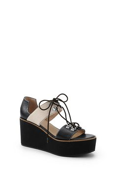 Land's End - Lace Front Wedge Sandals...