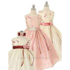 Festkleid für Blumenmädchen - Doreen Größe 62 bis 152 in 3 Farbkombinationen