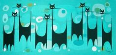 980 x 463 Retro Kunst, Retro Art, Modern Retro, Mid Century Modern Art, Mid Century Art, Black Cat Art, Black Cats, Animal Gato, Cat Attack