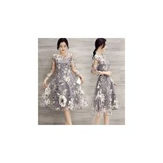 Floral Print 3/4 Sleeve Midi Dress ($28) ❤ liked on Polyvore featuring dresses