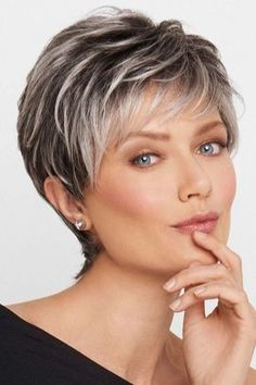 Hair Beauty - Crushing On Casual by Raquel Welch Wigs - Lace Front, Monofilament Wig Grey Wig, Short Grey Hair, Short Hair Cuts For Women, Short Hairstyles For Women, Ponytail Hairstyles, Pretty Hairstyles, Short Hair Over 60, Man Ponytail, Chic Short Hair