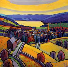 Return to Ambleside - Jim Edwards Abstract Landscape Painting, Landscape Art, Landscape Paintings, Fields In Arts, Art Is Dead, Naive Art, Birds Eye View, Environmental Art, Lake District