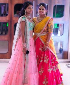 Ideas Wedding Makeup Ideas Bridesmaid Simple For 2019 Indian Lehenga, Lehenga Saree Design, Half Saree Lehenga, Lehenga Gown, Lehnga Dress, Gown Dress, Anarkali, Lehenga Designs, Half Saree Designs