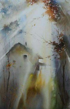 'AUTUMN' -- by Ilya Ibryaev (Илья Ибряев), Russian artist, lives in Moscow. Watercolor Landscape, Watercolour Painting, Painting & Drawing, Landscape Paintings, Watercolors, Landscapes, Art Aquarelle, Painting Inspiration, Amazing Art