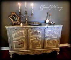 Vintage French Shabby Sideboard Server by CharmedByVintage on Etsy, $425.00