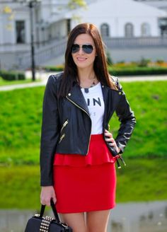 Casual outfit with leather jacket and peplum skirt