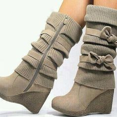 Beige Wedge Bow Boots