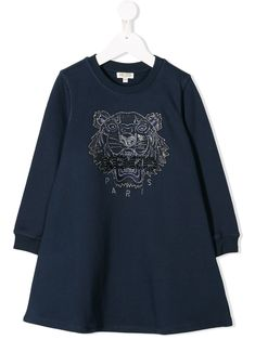 Navy blue cotton embroidered tiger sweater dress from Kenzo Kids featuring a crew neck, long sleeves, an embroidered logo to the front, sequin embroidery and a flared style. World Of Fashion, Kids Fashion, Fashion Design, Dress Outfits, Kids Outfits, Kenzo Kids, Navy Blue Dresses, Women Wear, Sweaters