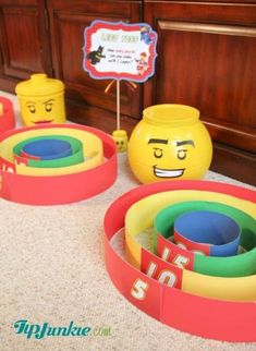How to make a homemade skee ball game for easy and fun Lego games for any carnival or party for kids. I was so inspired by this homemade skee ball… Church Carnival Games, Carnival Party Games, Homemade Carnival Games, Carnival Games For Kids, Indoor Games For Kids, Carnival Birthday Parties, Kids Party Games, Birthday Party Games, Indoor Activities