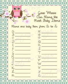 Owl Baby Shower Game, Owl Baby Shower Invitation Game on Etsy, $9.00