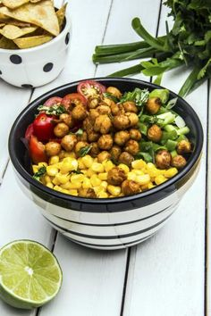 Avocado Lime Roasted Chickpea Salad is filled with spice and veggies. A great light dinner for summer. Click through for recipe!