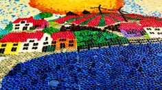 bottlecap art....by Agnes Janssens:detail of a 9m/3m bottlecapmural Elementary school DE kRIEBEL Olen Belgium MARCH 2014
